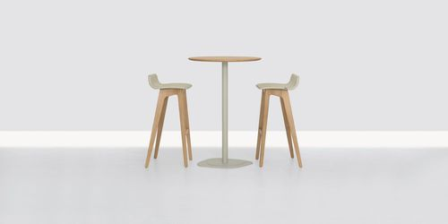 Contemporary high bar table / steel / solid wood / round KONTRA HIGH by Formstelle ZEITRAUM
