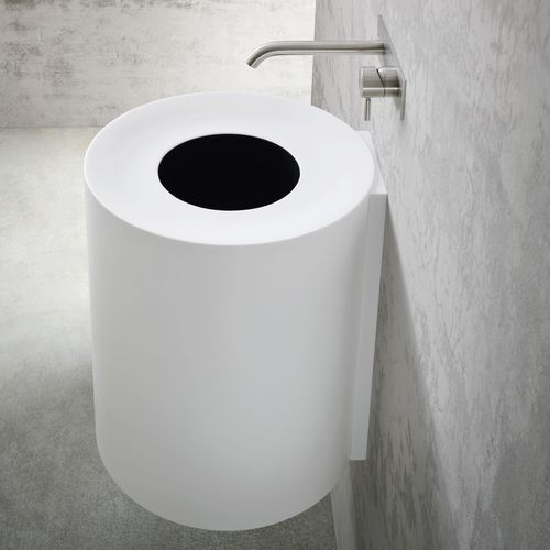 wall-mounted washbasin / round / composite / contemporary