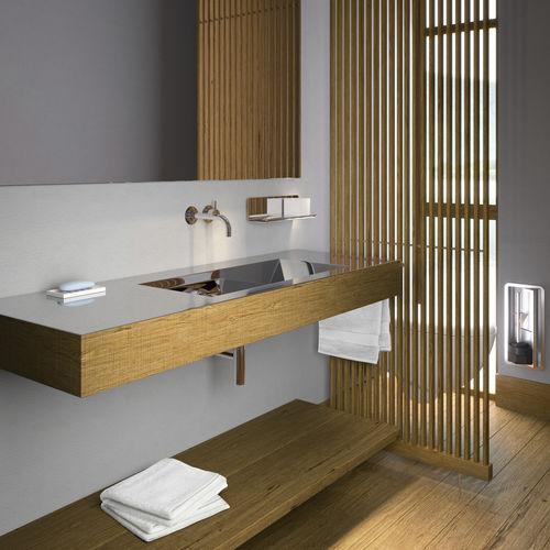 wooden vanity top / stainless steel / with towel rack