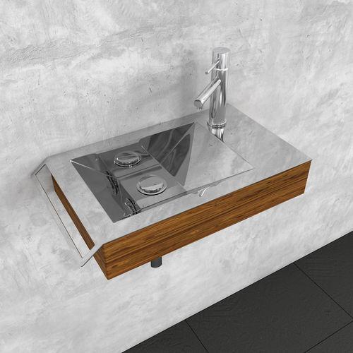 wall-mounted washbasin / rectangular / wooden / stainless steel