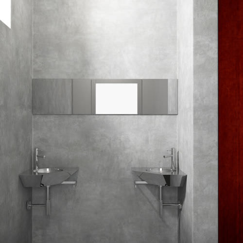 wall-mounted washbasin / corner / stainless steel / original design