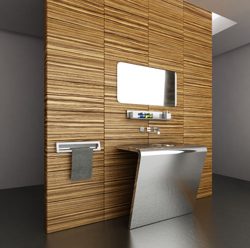 free-standing washbasin / rectangular / stainless steel / original design