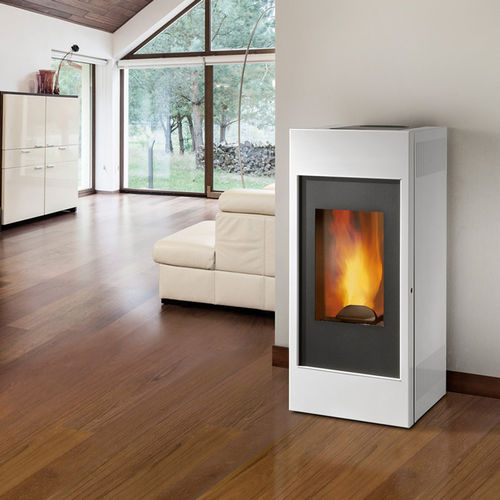 Pellet boiler stove / wood / contemporary / steel VISUAL XW Caminetti Montegrappa