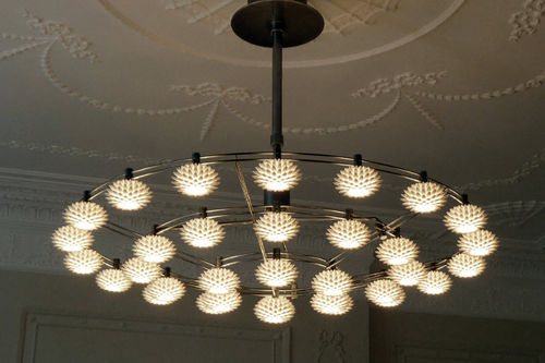 Contemporary chandelier / brass / halogen PALM: D100 by Janne Kyttanen FOC Collection