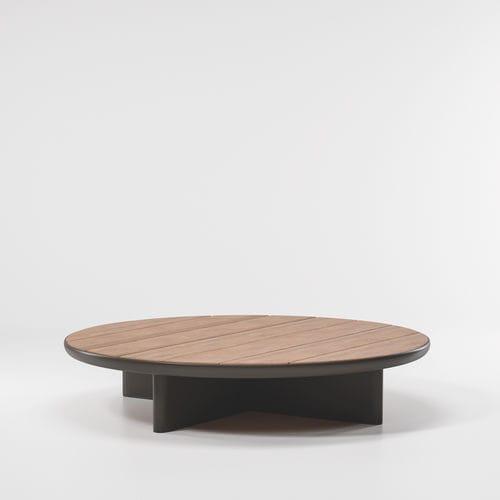 contemporary coffee table / teak / aluminum / round