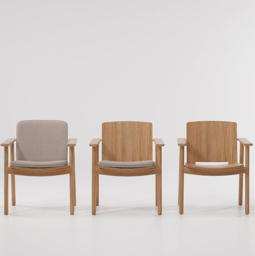 contemporary dining chair / with removable cushion / teak / outdoor