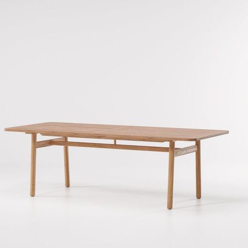 contemporary dining table / teak / marble / rectangular