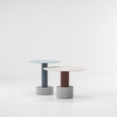 contemporary side table / metal / concrete / round