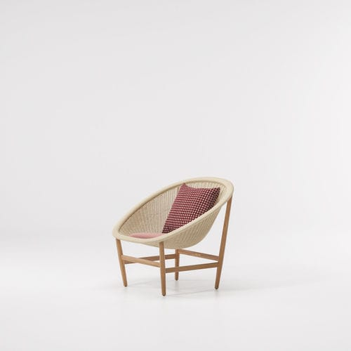 contemporary armchair / oak / teak / synthetic fiber
