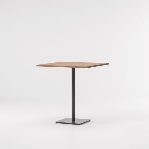contemporary high bar table / teak / aluminum / square