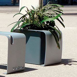 galvanized steel planter / rectangular / with integrated bike rack / contemporary