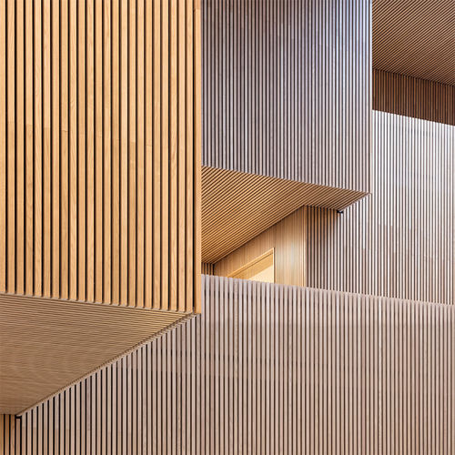 wooden wall cladding panel / interior / textured / metallized