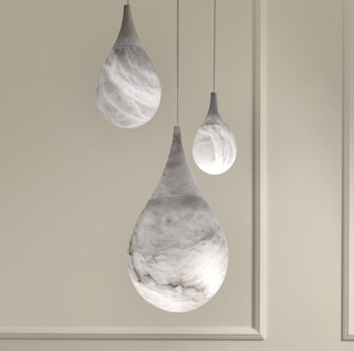 pendant lamp / contemporary / alabaster / sculpture