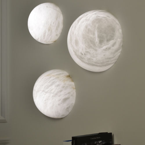 contemporary wall light / alabaster / LED / round