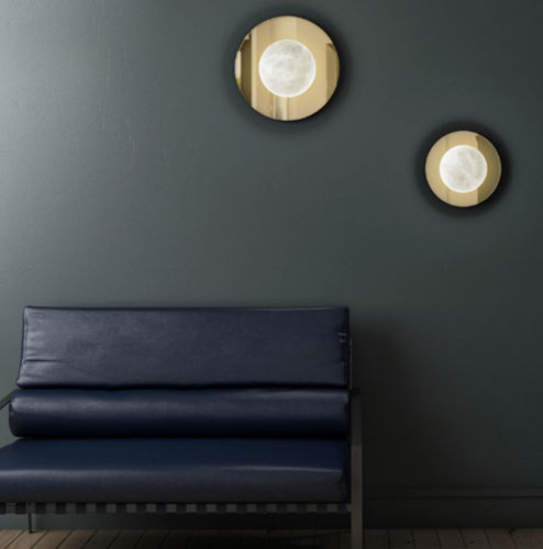 contemporary wall light / polished brass / alabaster / LED