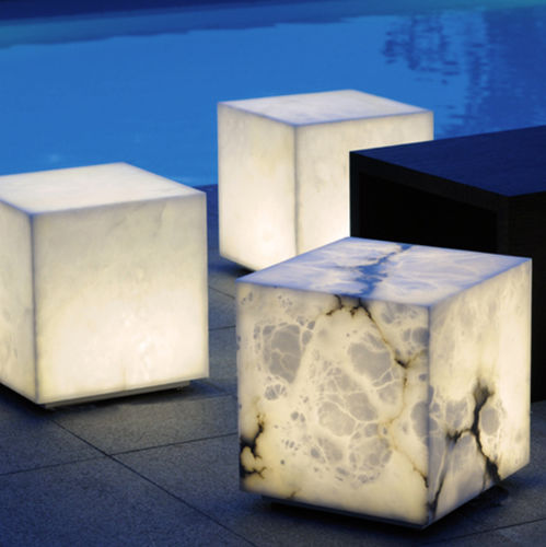 contemporary coffee table / alabaster / square