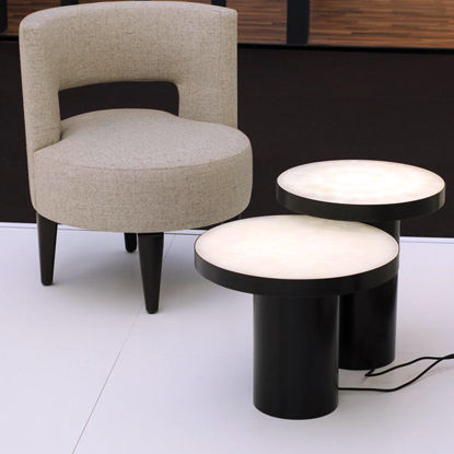 contemporary coffee table / stone / round
