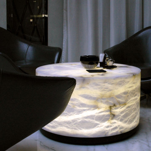 contemporary coffee table / alabaster / round / living room