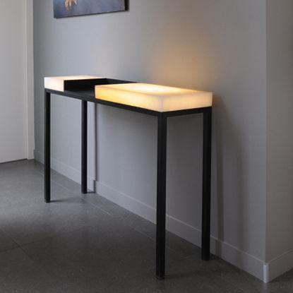 contemporary sideboard table / metal / alabaster / rectangular
