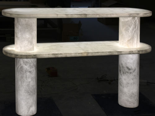 contemporary sideboard table / alabaster / oval