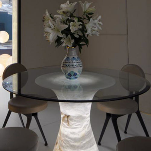 contemporary dining table / glass / alabaster / round