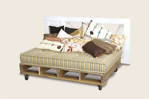 double bed / contemporary / on casters / wooden