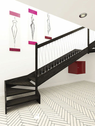 Quarter-turn staircase / wooden steps / wooden frame / without risers DOMINA MOOD TECNOSCALE