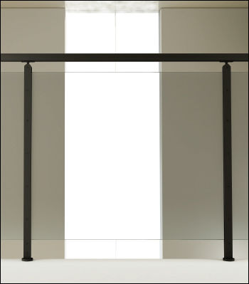 glass railing / with panels / indoor / for balconies
