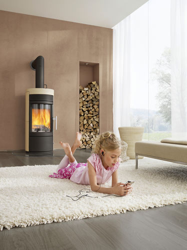 wood heating stove / contemporary / steel / stone
