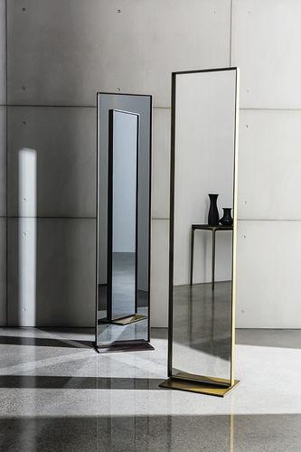 free-standing mirror / contemporary / rectangular / aluminum