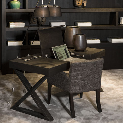 wooden desk / leather / contemporary / folding