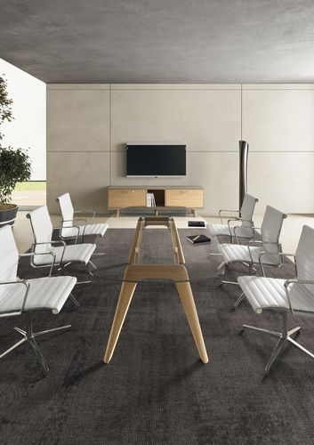 contemporary boardroom table / glass / wood veneer / round