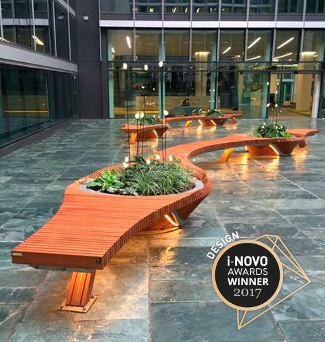 public bench / original design / wooden / metal