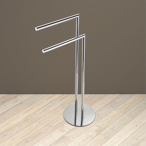2-bar towel rack / floor-standing / metal