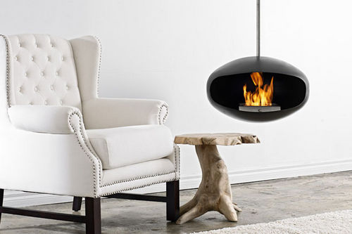 Bioethanol fireplace / contemporary / open hearth / hanging AERIS BLACK Cocoon Fires