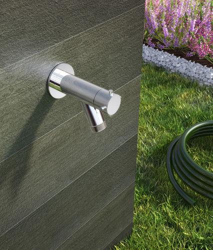 drinking fountain single tap / wall-mounted / steel / garden