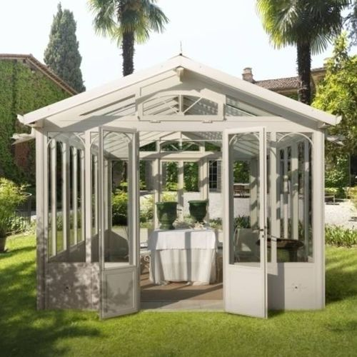 self-supporting conservatory / glass / galvanized iron