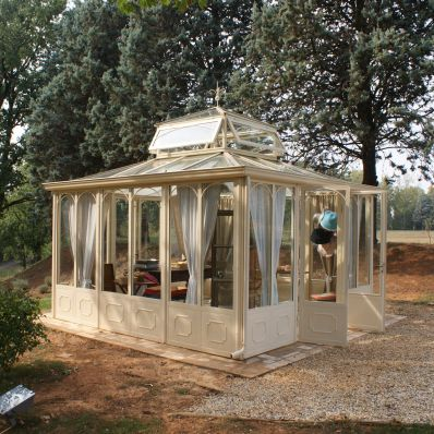 self-supporting conservatory / iron / commercial / all glass