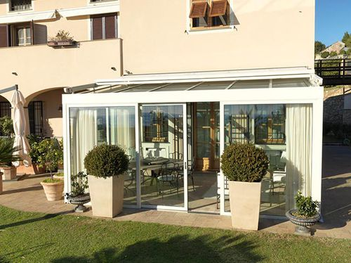 galvanized steel conservatory / all glass / with integrated roller shutter
