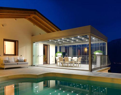 wall-mounted pergola / galvanized steel / glass / glass canopy