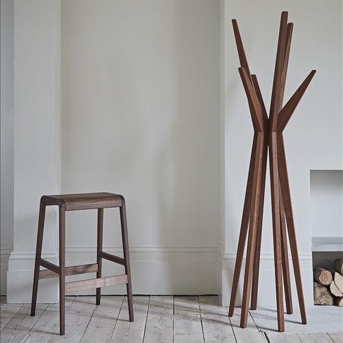 floor coat rack / contemporary / American walnut