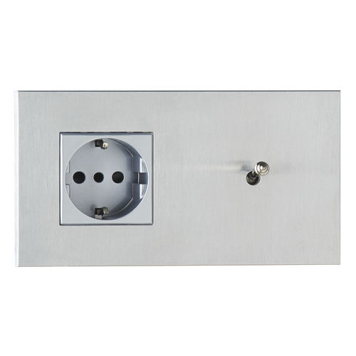 power socket / double / wall-mounted / brass