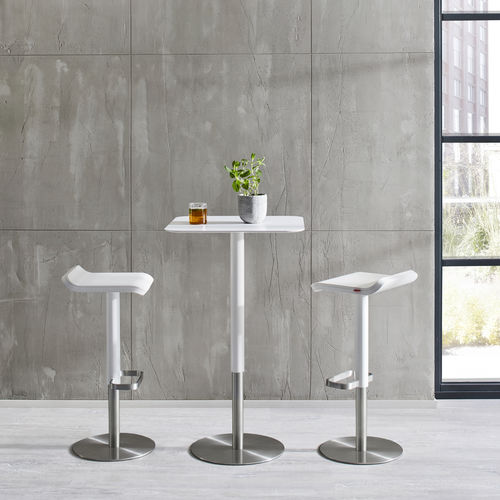 contemporary high bar table / brushed stainless steel / HPL / square
