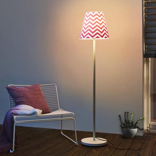 floor-standing lamp / contemporary / steel / fabric