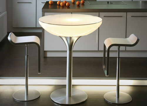 contemporary high bar table / metal / plastic / round