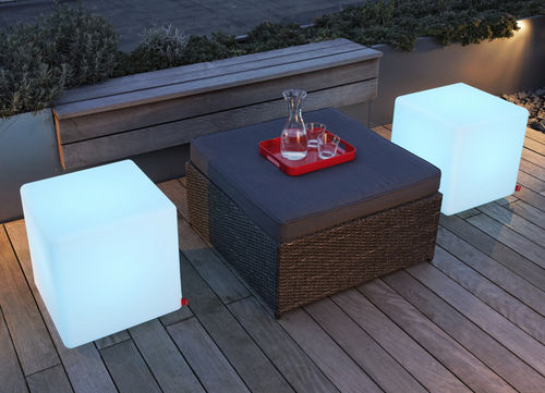 contemporary side table / polyethylene / cube / garden