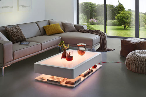 contemporary coffee table / glass / rectangular / with storage compartment