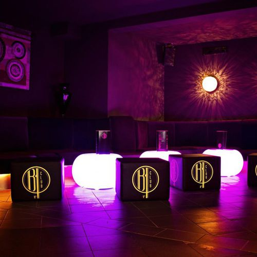 contemporary coffee table / glass / round / LED-illuminated