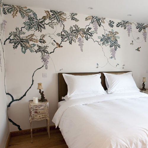 traditional wallpaper / silk / nature pattern / chinoiserie