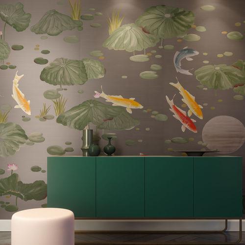 contemporary wallpaper / silk / chinoiserie / handmade